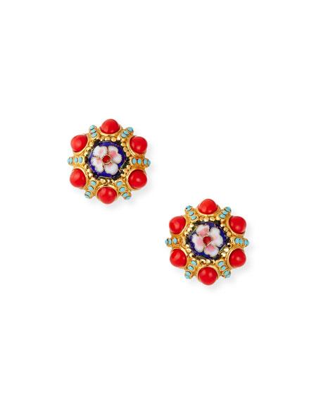 Jose & Maria Barrera Flower Clip-On Button Earrings