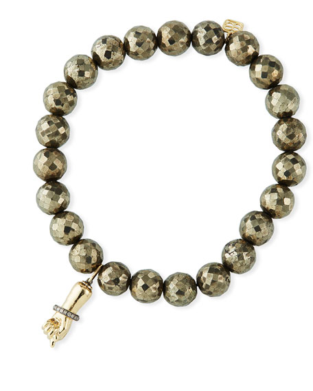 Sydney Evan 14k Diamond Figa Fist & Pyrite Bead Bracelet