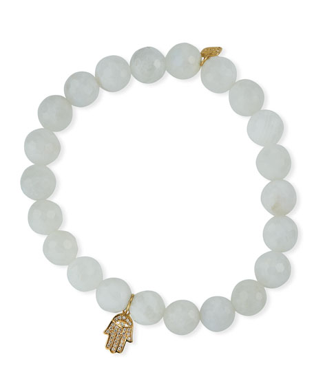 Image 1 of 2: Sydney Evan 14k Diamond Hamsa & 8mm Moonstone Bracelet