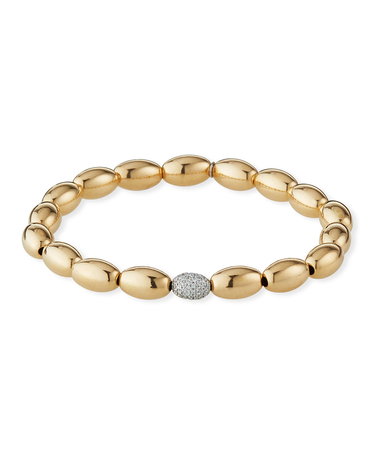 Sydney Evan 14k Gold 6mm Bead & Diamond Bracelet
