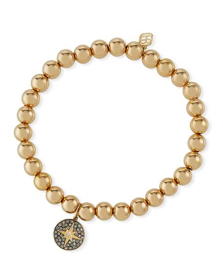 Sydney Evan 14k Bead Bracelet w/ Diamond Starburst