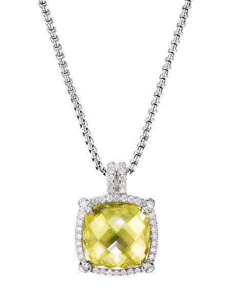 David Yurman Chatelaine Diamond Pave Pendant Necklace w/ Lemon Citrine