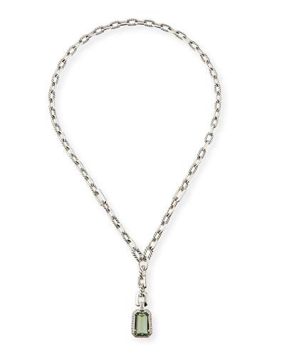 Stax Y-Drop Pendant Necklace w/ Prasiolite & Diamonds