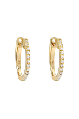 Zoe Lev Jewelry 14k Gold Diamond Huggie Earrings