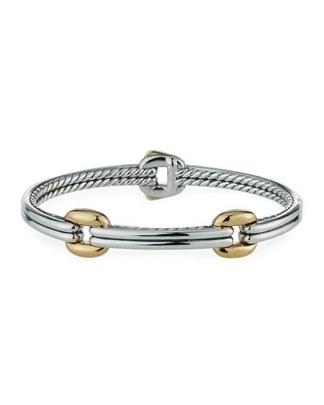David Yurman Thoroughbred Double-Link Bracelet w/ 18k Gold, Size S-L