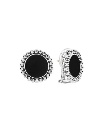 Maya Inlay Button Earrings  Onyx