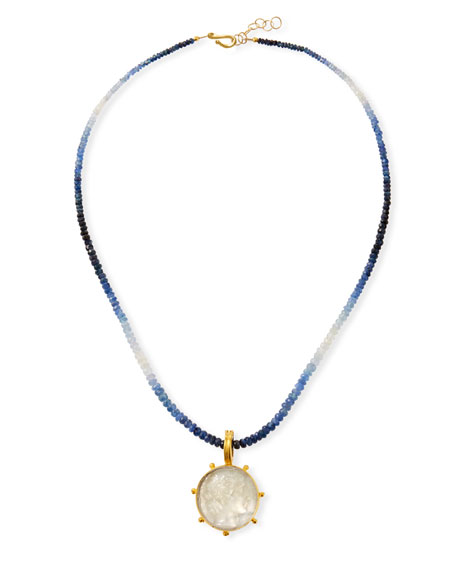 "Image 1 of 3: Dina Mackney Sapphire Necklace w/ Italian Murano ""Apollo"" Pendant"