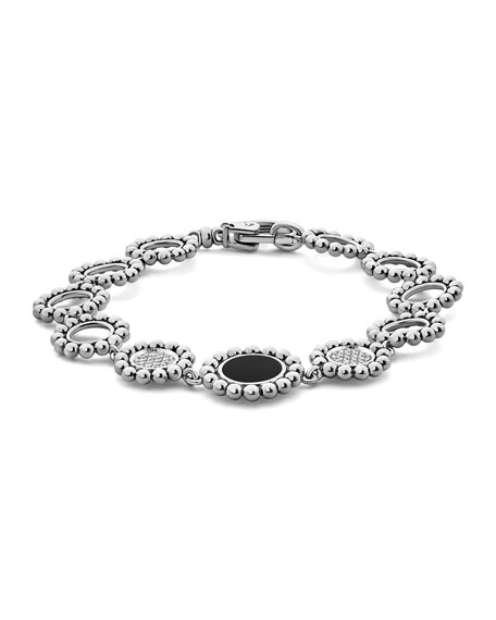 Image 3 of 5: Lagos Maya Black Onyx & Diamond Circle-Link Bracelet
