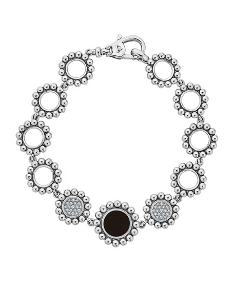 Image 1 of 5: Lagos Maya Black Onyx & Diamond Circle-Link Bracelet