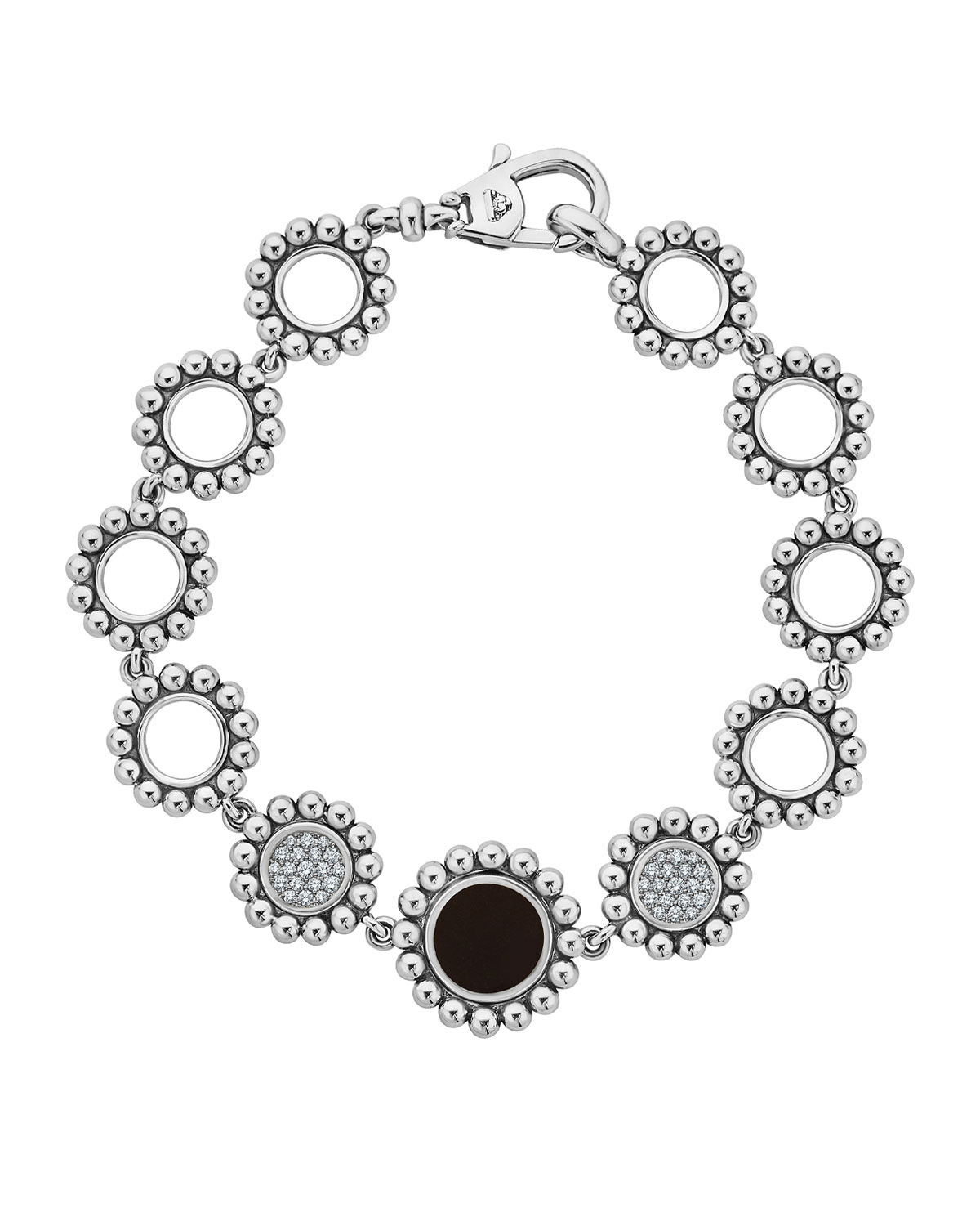 Lagos Maya Black Onyx & Diamond Circle-Link Bracelet