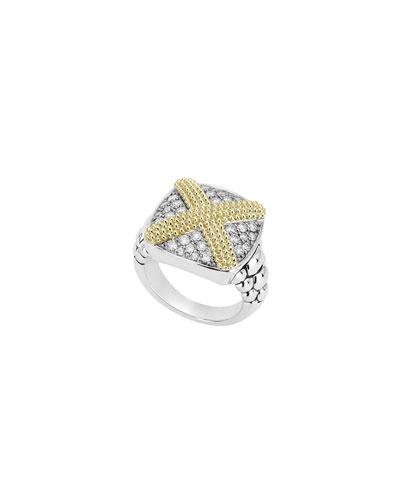 Caviar Lux X-Cushion Ring w/ Diamonds  Size 7