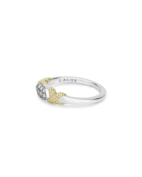Image 4 of 5: Lagos Caviar Lux Double-X Ring w/ Diamonds, Size 6-8