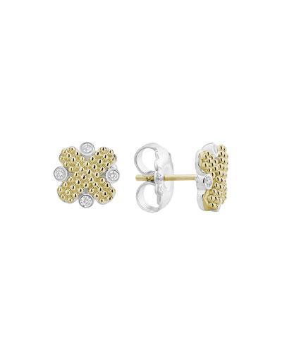 Caviar Lux X-Stud Earrings w/ Diamonds