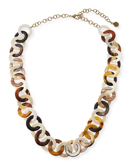 Image 1 of 3: NEST Jewelry 14k Horn & Bone Circle-Link Necklace