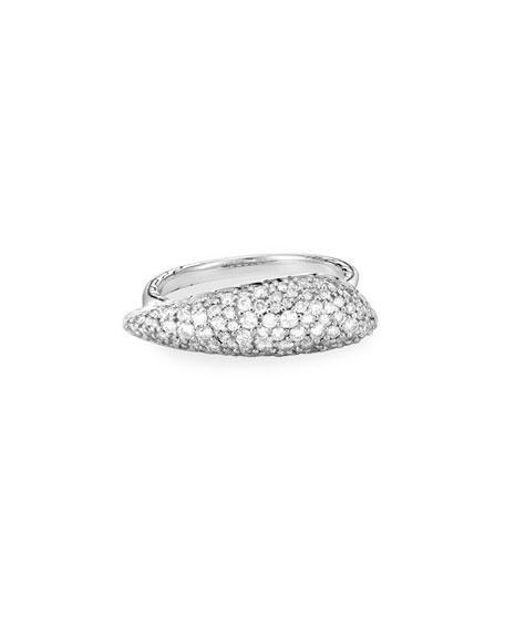 John Hardy Classic Chain Diamond Pave Ring, Size 6-8