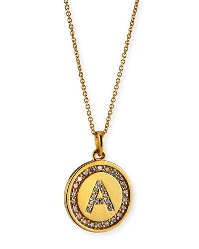 14k Personalized Diamond Initial Medallion Necklace