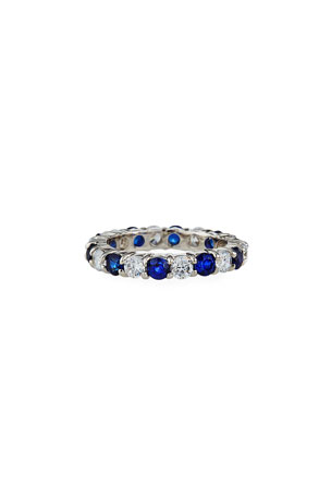 Fantasia by DeSerio Alternating Cubic Zirconia & Synthetic Sapphire Eternity Band Ring, Size 6-8