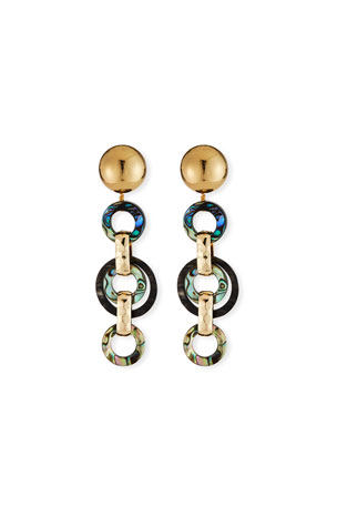 Akola Abalone & Horn Link Earrings