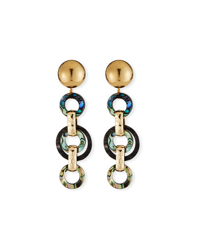 Abalone & Horn Link Earrings