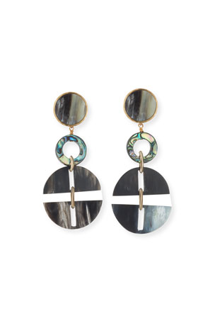 Akola Horn Statement Earrings w/ Abalone