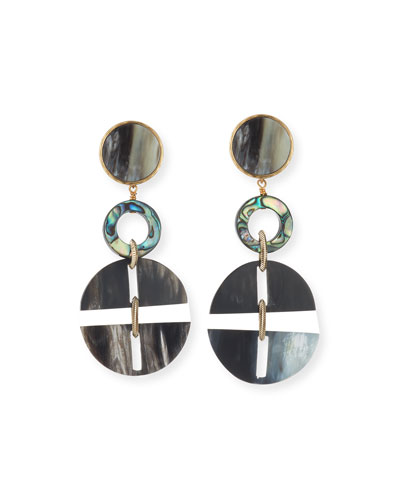Horn Statement Earrings w/ Abalone