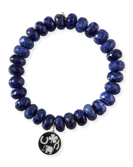 Image 1 of 3: Sydney Evan 14k Luck Tableau Medallion & Sodalite Bracelet