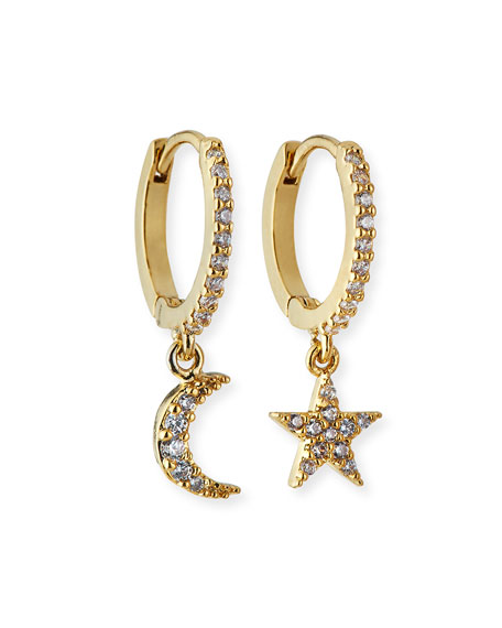 Tai Mismatch Star Moon Huggie Hoop Earrings