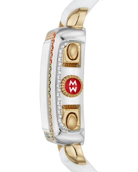 Image 3 of 4: MICHELE Deco Carousel Diamond Silicone Watch