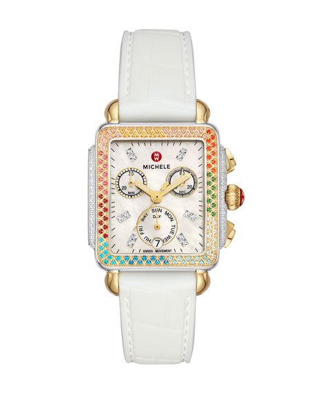 Image 1 of 4: MICHELE Deco Carousel Diamond Silicone Watch