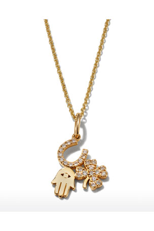 Sydney Evan 14k Diamond Luck & Protection Trio Necklace