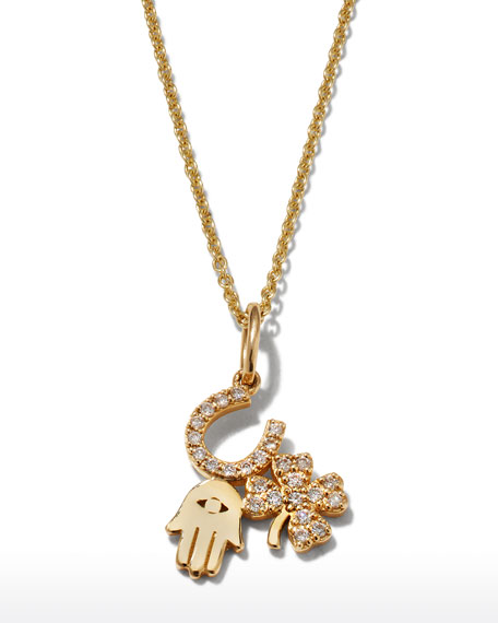 Image 1 of 2: Sydney Evan 14k Diamond Luck & Protection Trio Necklace