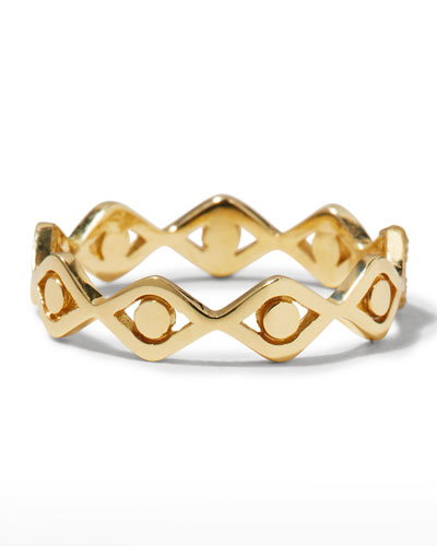 14k Yellow Gold Small Pure Evil Eye Eternity Ring  Size 6