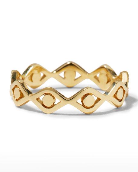 Sydney Evan 14k Yellow Gold Small Pure Evil Eye Eternity Ring, Size 6