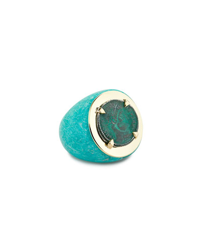 Emperor 18k Amazonite Coin Ring  Size 6