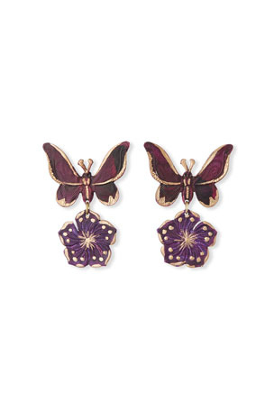We Dream in Colour Butterfly Drop Earrings, Purple
