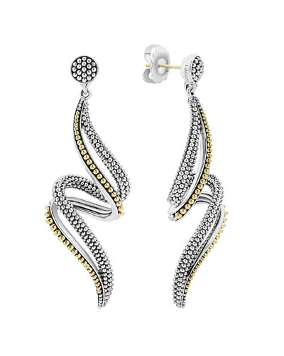 Signature Caviar Twisting Swirl Drop Earrings