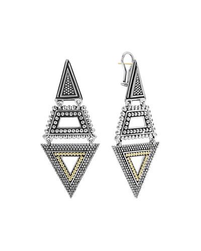 Signature Caviar Two-Tone Multi-Texture Pyramid Dangle Earrings