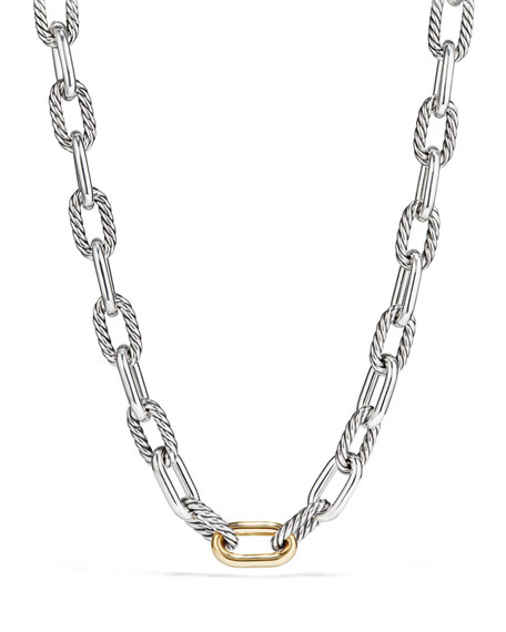 """David Yurman Madison Chain Large Link Necklace with 18K Gold, 18"""""""