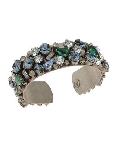 Gladys Crystal Cuff Bracelet  Blue