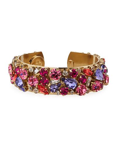 Gladys Crystal Cuff Bracelet  Pink