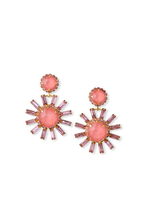 Elizabeth Cole Round Flower-Drop Earrings, Pink