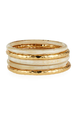 NEST Jewelry Blonde Horn and Hammered Gold Bangles, Set of 5