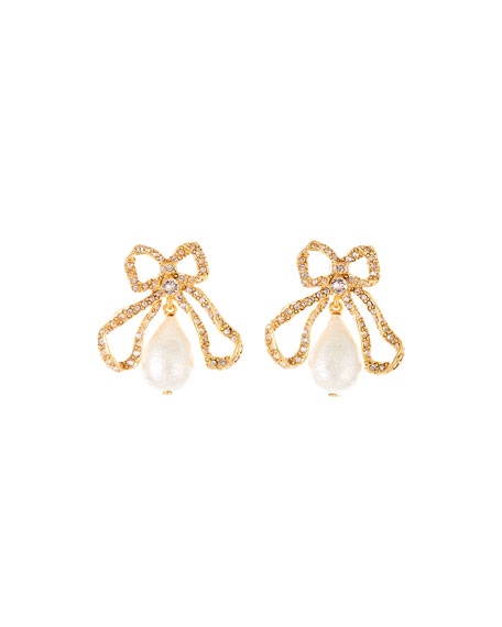 Image 1 of 1: Pearly Bow Drop Earrings