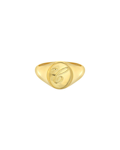 Image 1 of 3: Zoe Lev Jewelry Small Personalized Initial Signet Ring, Size 4-8