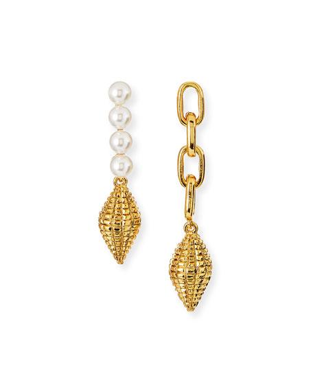 Oscar de la Renta Pearly and Chain Mismatch Earrings