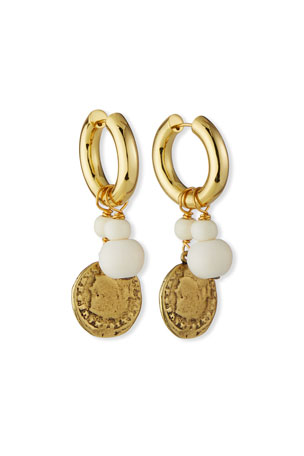 NEST Jewelry Coin and Bone-Drop Huggie Hoop Earrings