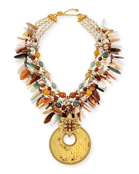 Jose & Maria Barrera Basket Weave Detachable-Pendant Necklace