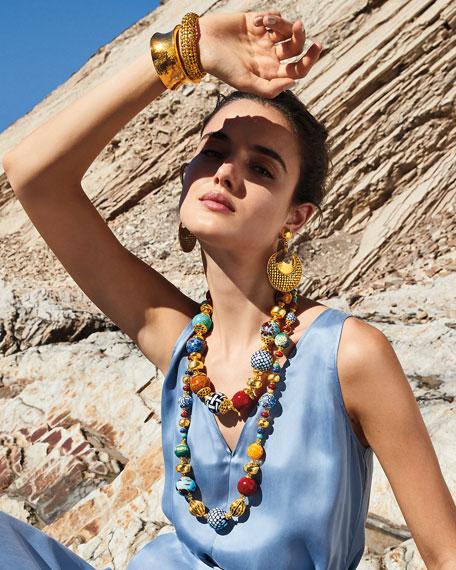 "Jose & Maria Barrera Long Ceramic Necklace, 30""L"