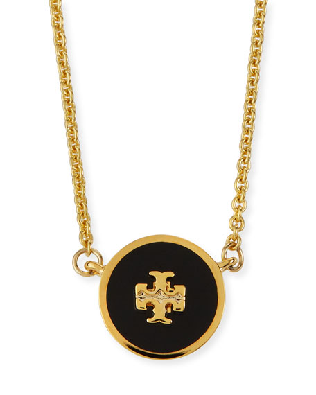 Image 1 of 2: Tory Burch Kira Enamel Pendant Necklace, Black