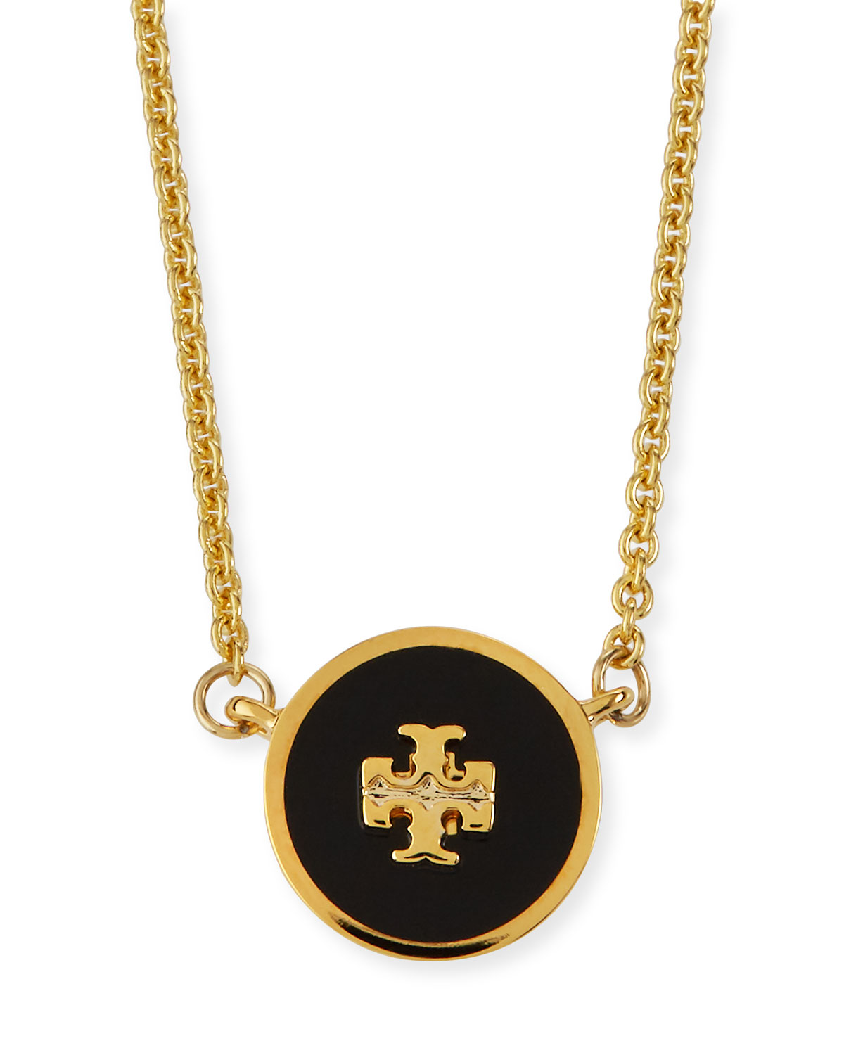 Tory Burch Kira Enamel Pendant Necklace, Black